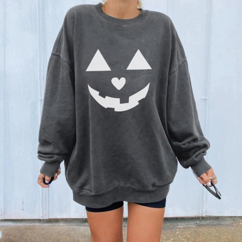 Hoodies Sweatshirt Women's Casual O Neck Halloween Printed Long Sleeve Loose Pullover Blouse Tops Kawaii Female Sweatshirt