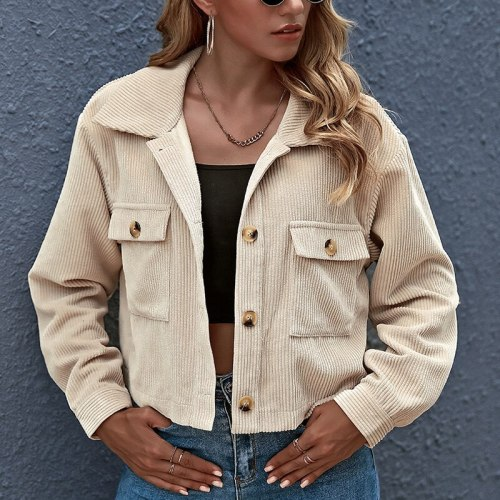 Fashion Turn-Down Collar Single-breasted Coats 2021 Autumn Winter Solid Women Short Jacket Warm Corduroy Lady Casual Outwears