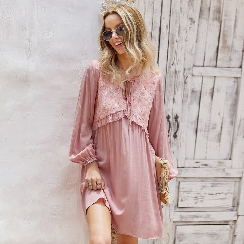2021 Spring Summer Fashion Casual Chic Sexy Womne's Dress Ruffles V Neck Long Sleeve High Waist Solid Ladies Dress