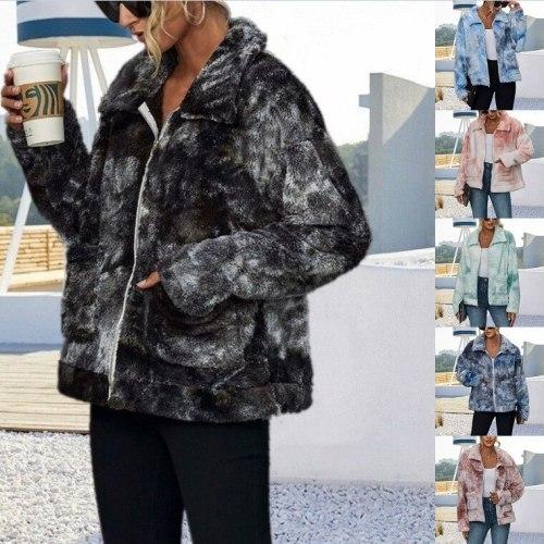 Jacket Women Fashion Zipper color plus padded Fur jacket Faux Fur Teddy Bear Coat Coat Female 2020 New Long Sleeve Fur jacket