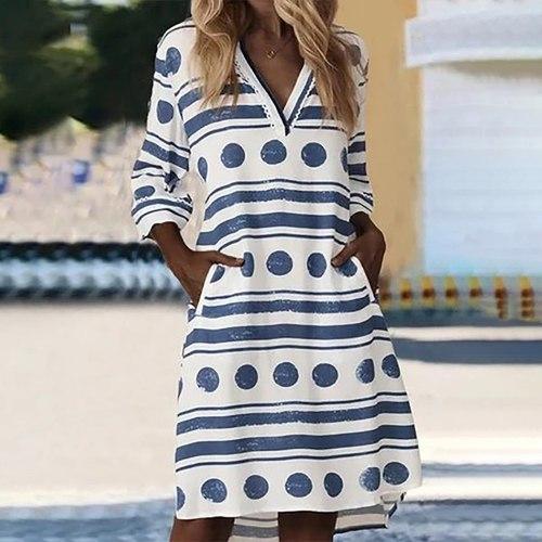 62# Women's Casual V-neck Long Sleeve Strap Open Back Sexy Print Dress Bikinis Swim Cover Up Robe Plage Beachwear Mini Dress