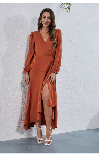Autumn Solid Party Dress for Women Fashion Casual Wedding Guest Maxi Robe Leisure Vintage Satin Silk Women's Clothing