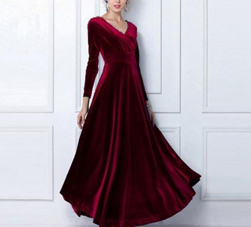 Autumn Winter Dress Women Casual Vintage Ball Gown Velvet Dress Oversize 3XL Sexy Long Party Dress