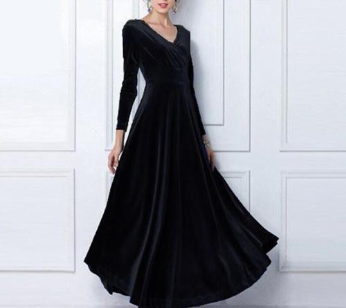 2021 Autumn Winter Dress Women Casual Vintage Ball Gown Velvet Dress Oversize 3XL Sexy Long Party Dress