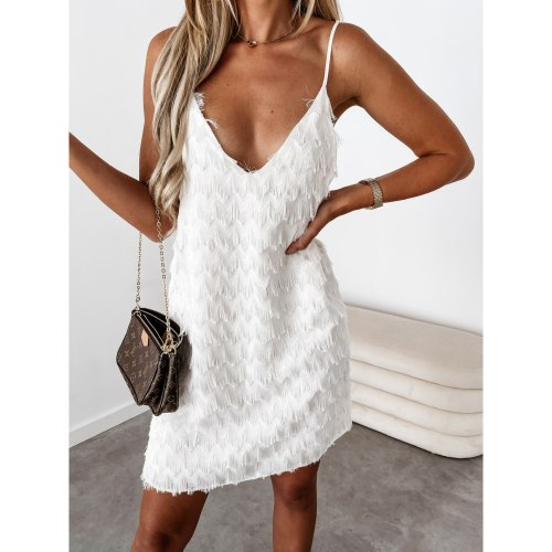 Women Mini Dress Solid Sleeveless Strap V Neck Tassel Loose Dresses Sexy Fashion Outfits Summer 2021