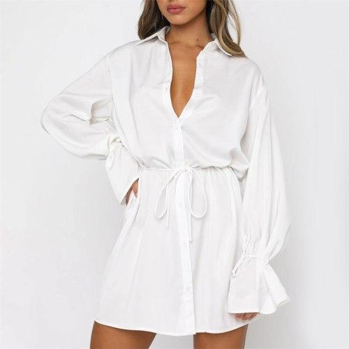 A Line Long Sleeves Satin Women Bodycon Dress 2021 Autumn Fashion Elegant Party Female Turn Down Collar Mini Dresses