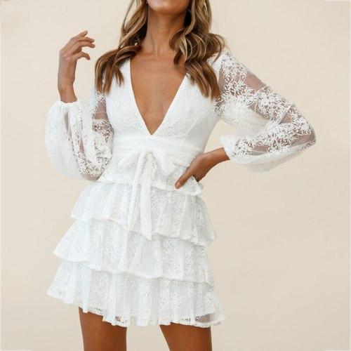 V Neck Long Sleeve Autumn Winter Femme Dress Robe Elegant Ladies Dress  White Lace Party Dress Women Layered
