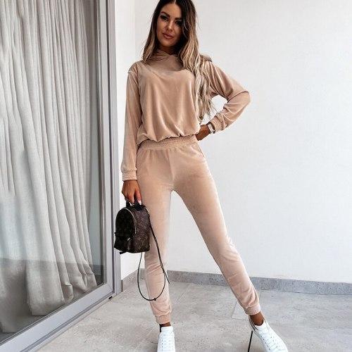 Womens Two-piece Velvet Loose Hooded Sweatshirt Set Long Sleeve Trouser Suits Pants Autumn Women's Clothing 2021