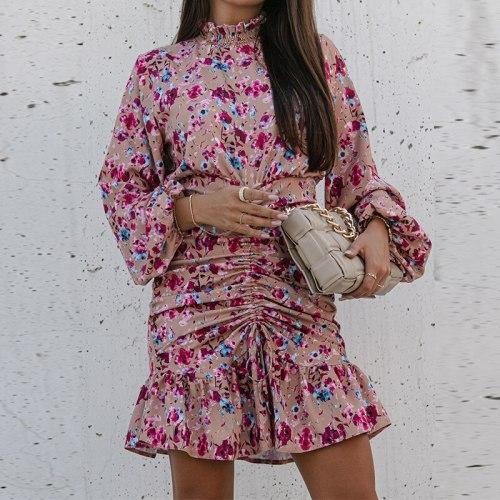 Autumn Women Drawstring Floral Print Dress Elegant Turtleneck Ruffles Short Office Dress Female Long Sleeve Party Vestidos 2021