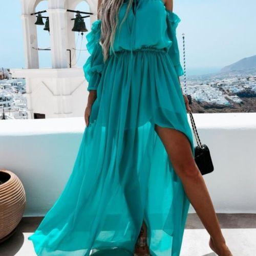 Bohemian Long Dress Women Off Shoulder Chiffon Dress Lace-up Solid Color Ruffle Beachwear Blue/Orange