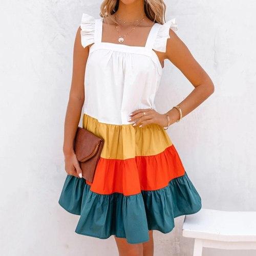 Women Summer Patchwork Dress Boho Casual Sleevelss A Line Tank Dress 2021 Flounced Female Loose Beach Sundress Leisure Clothes