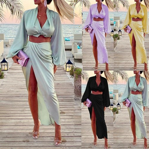Women Long Sleeve Crop Tops Midi Skirts Set 2021 Autumn V-neck Ruched Side Split Skirts Two Piece Set Ladies Club Party Vestidos
