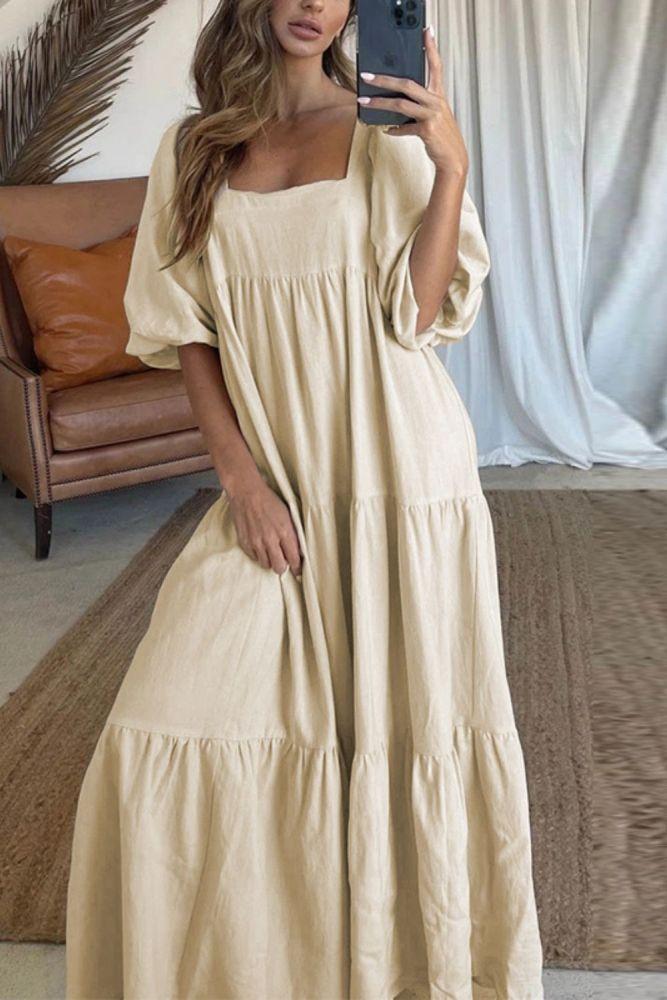 Summer Lady Short Sleeve Loose Party Dress Casual Loose Women Beach Dress Elegant Square Collar Puff Shoulder Long Dress Vestido