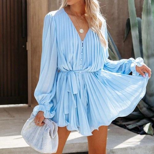 Vintage Solid Blue Dress Robe Women Button Up Elegant Chic Autumn Winter Dresses A-line Mini Dress Loose 2021 Party Vestidos