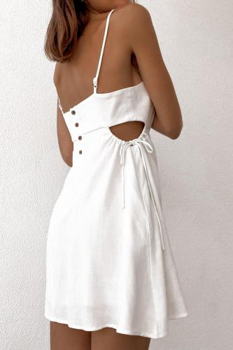 Summer Dress for Women2021 Sexy Hollow Beach Vacation Solid Mini Camisole Dresses Streetwear Undefined Woman Dress