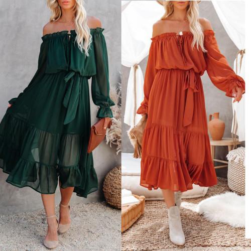 Off Shoulder Lace Up Chiffon Autumn Winter Women Dress Sash Casual Maxi Long Green Dress Robe Femme Vestidos Casual
