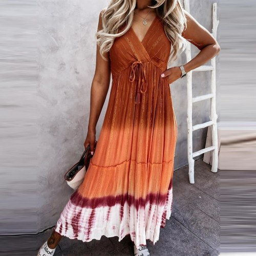 Women Sexy V-Neck Backless Party Dress Drawstring Lace-Up Long Dress Casual Tie-Dye Gradient Sleeveless Sling Summer Beach Dress