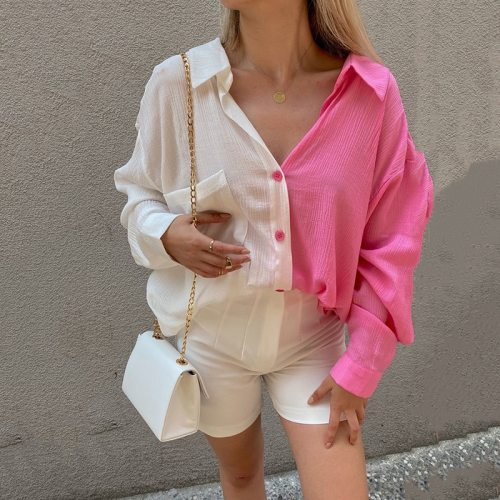 Fashion Solid Patchwork Women Blouses Casual Turn-down Collar Single Breasted Shirt Elegant Long Sleeve Autumn Loose Shirt Blusa