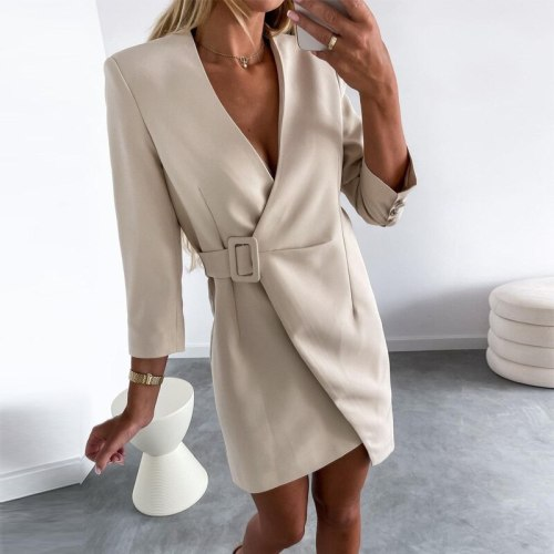 Autumn Elegant Patchwork Print Irregular Dress Fashion Turn-down Collar Office Lady Party Dress Casual Long Sleeve Dress Vestido