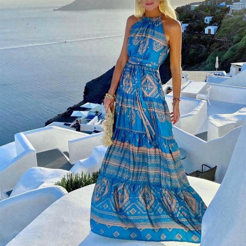 2021 Women Boho Party Dress Vintage Pattern Print Casual Long Dress Sexy Halter Sleeveless Lady Fashion Elegant Beach Maxi Dress