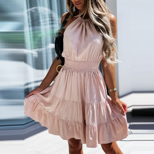 Women Summer Knee-length Dress Ruffle Backless Sexy Evening Party Halter Lace Up Dresses New Fashion Femme Sweet Casual Vestidos