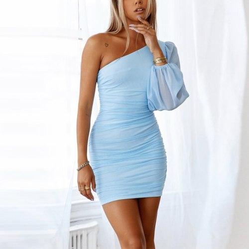 2021 Long Sleeve Fashion Blue Skinny Party Dress Women Summer One-Shoulder Slim Sheath Mini Dress Sexy Night Club  Dress