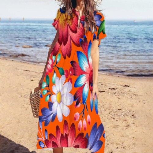 Sexy V Neck Elegant Flower Print Summer Beach Dress Women Casual Short Sleeve A-Line Party Dresses Fashion Loose Lady Long Dress