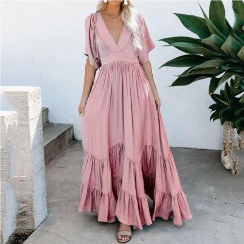 Casual Ladies Short Sleeve Wrap A-Line Dress Elegant Women Boho Beach Maxi Dress 2021 Fashion Chic V-Neck Ruffles Party Dresses