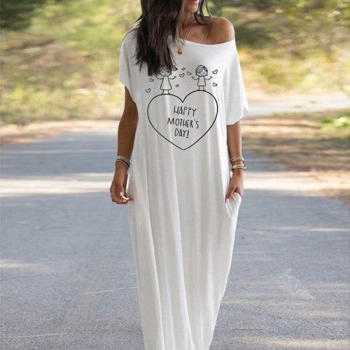 2021 Women Dresses Loose Short Sleeve Long Dress Moon Star Printing Female Summer Butterfly Dress Vestidos Mother's Day gift