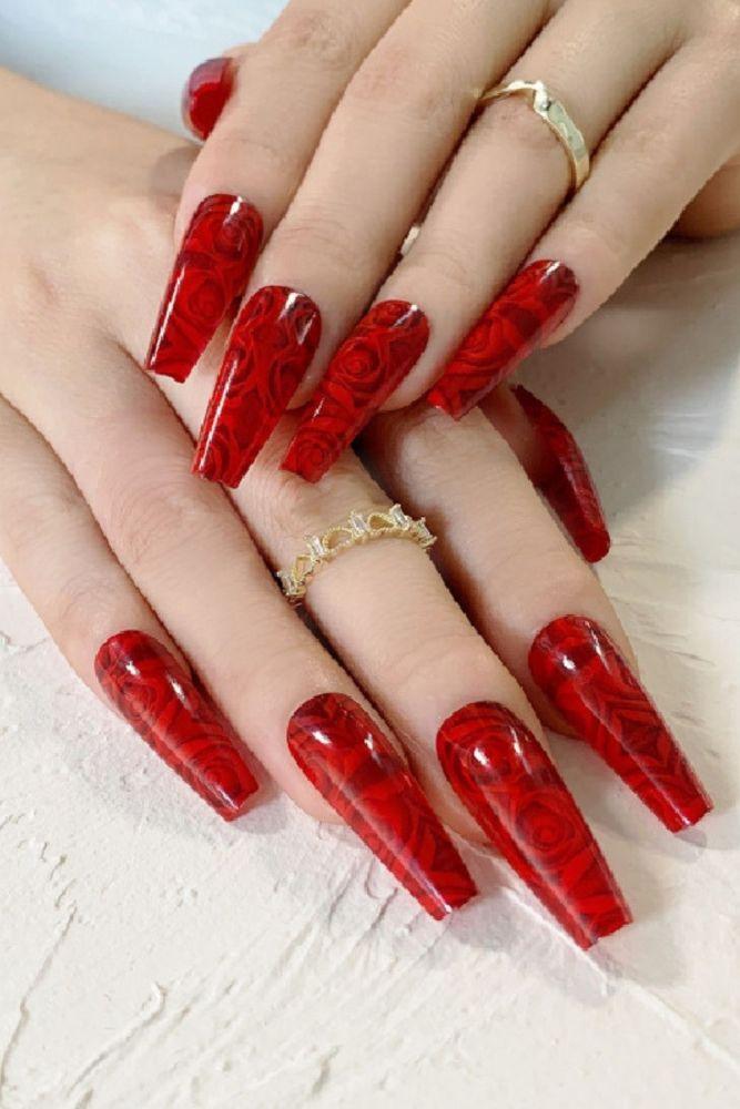 24pcs Rose Pattern Red Wine False Nail Fake Nails Coffin Glossy Press On Nails False Girls Ballerina full cover Fingernails Tips