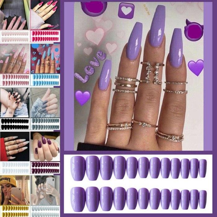 24Pcs/Box Acrylic Nail Tips Press on False Nails Extra Long Coffin Ballerina Shape UV Gel Glue On Fingersnails Free Adhesive Tap