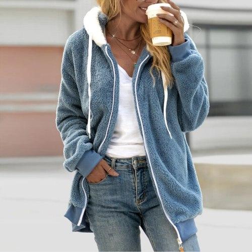 Winter Fleece Zipper Coat Female Casual Loose Hooded Sweatshirt Autumn Women Fashion Long Sleeve Tops Hoodies Jacket Streetwear