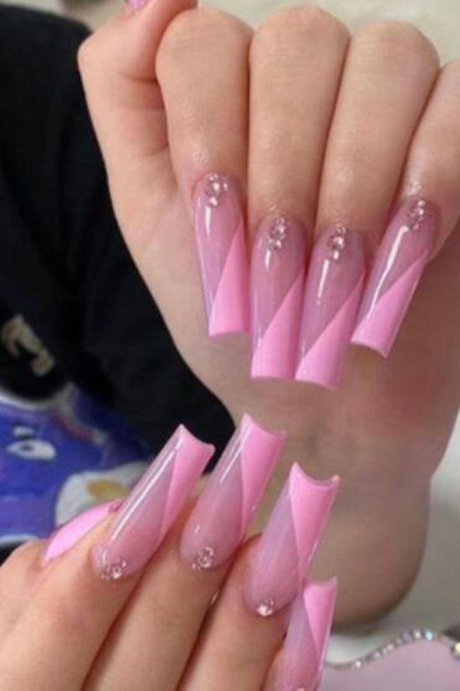 24pcs Long French False Nails Pink Wave Design Fake Nails Hit Color Ballet Blue Purple Nail Art Tools Press On Nail Summer Style