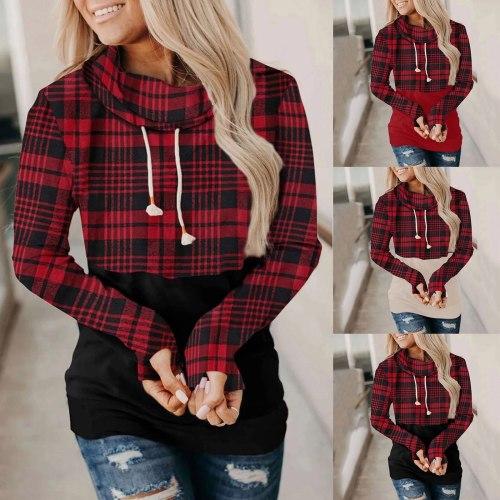 Christmas Women Hoodies Plaid Patchwork Hooded Sweatshirt Xmas Winter Warm Long Sleeve Pullover Top Sudaderas Para Mujer