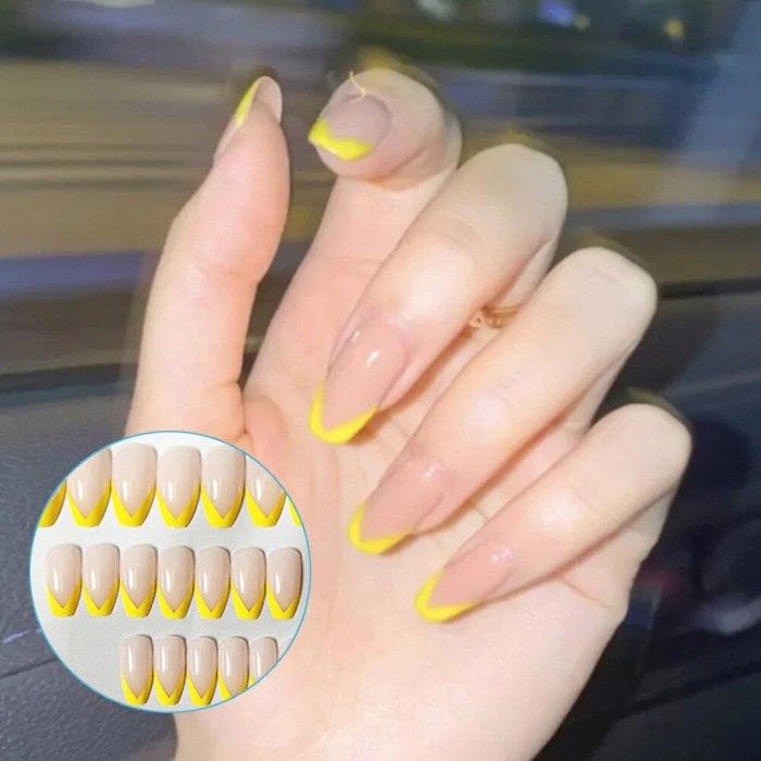 24pcs Black French False Nails Detachable Wearable fake nails press on Fake Nails Full Cover Artificial Nail Tips Manicure Tool