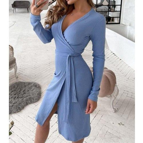 Blue V-neck Dress-with Belt Women Summer Long Sleeve Slim Fits High Waist Dress Solid Color Sheath Bodycon Sexy Dress