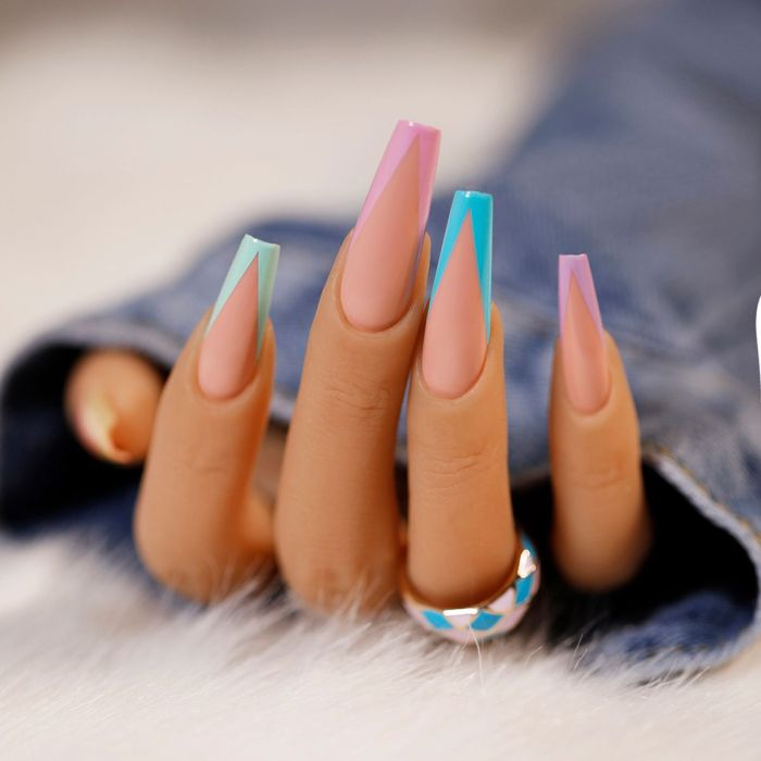 24pcs/Set Detachable Long Coffin Fake Nails European Rainbow Ballerina Full Nail Art Tips Colorful Beauty Artificial False Nails