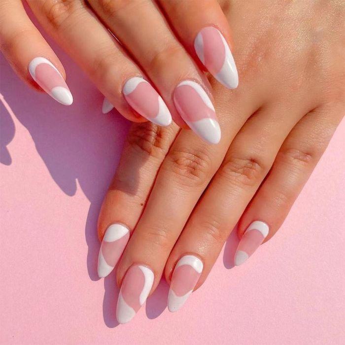 24pcs blue white Wavy lines Detachable Long Ballerina False Nails With Design Wearable Fake Nails Full Cover Nail Tips