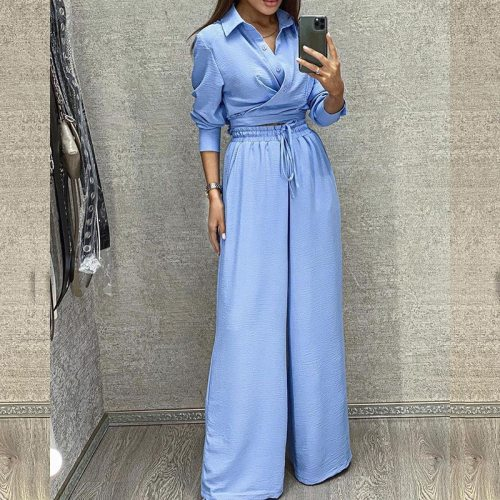 2021 Elegant Solid Lapel Button Down Shirts + Wide Leg Pant Outfit Office Lady Fashion Long Sleeved Homewear Solid Two Piece Set