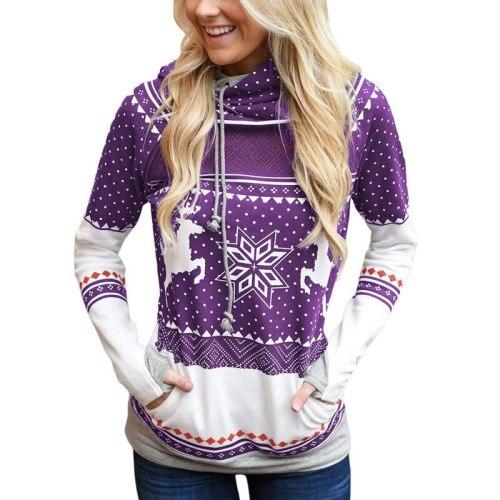 Christmas Zipper Print Sweatshirts Women Long Sleeve Pullovers Hooded Finger Sweatshirts with Pocket