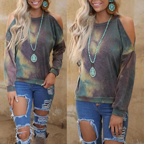 Spring Women's Printed Long Sleeve Round Neck Off Shoulder Casual Top Casual Round Neck Loose Pullover