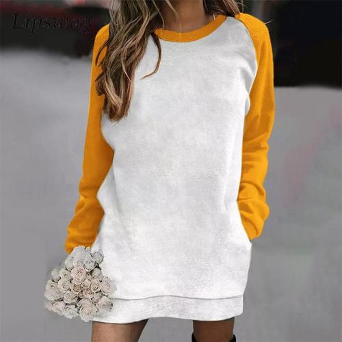 Women Winter Vintage Loose Pocket Party Dresses 2021 Autumn Elegant Patchwork Print Mini Dress Casual O-Neck Sweatshirt Dress