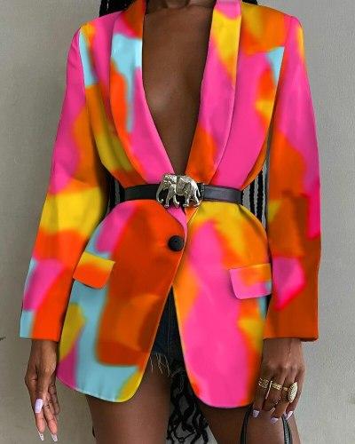 Women Vintage Print Blazer Single Breased Elegant High Street Office Lady Casual Blazer Jackets  Fall Top Chaquetas Para Mujer