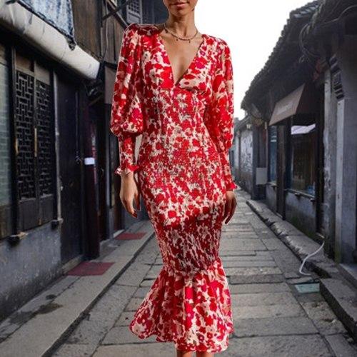 Autumn Boho Long Mermaid Dress Floral Print Lady V Neck Red Maxi Slim Beach Vacation Dress 2021 Vintage Women Elegant Party Robe