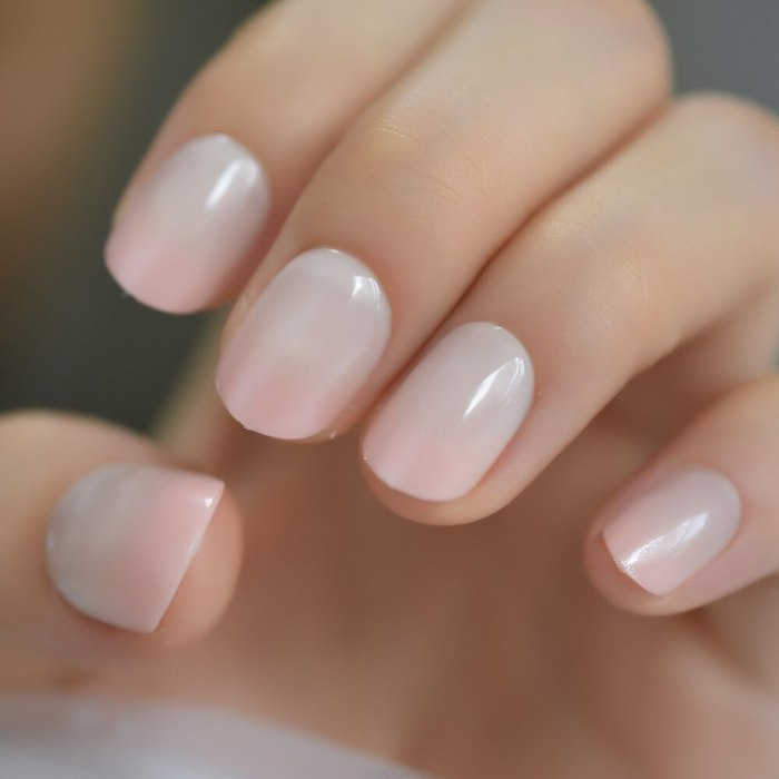 Squoval Short Size Charming Lovely Fake Nails Nude Pink Pudding Smooth Supple Fake Nails UV Gel Press On Nails lovely charms