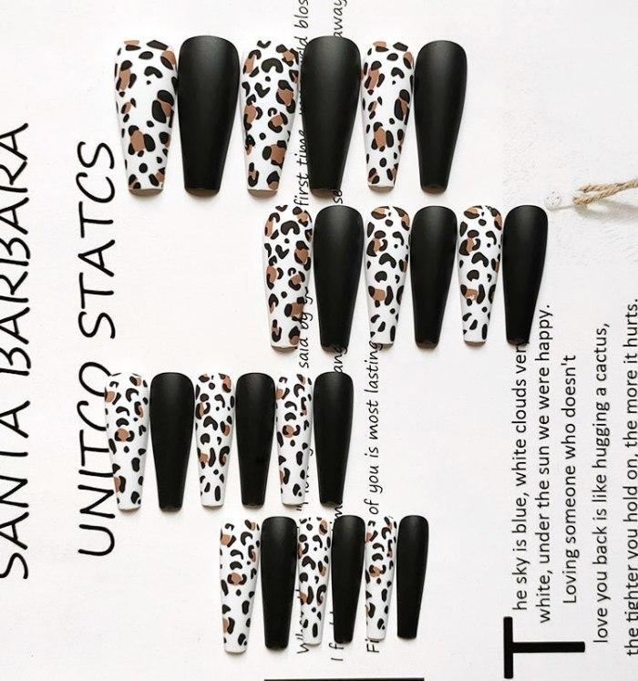 24pcs /box Frosting Matte Leopard Print Super long coffin nails False nails wear Nail piece acrylic nail products