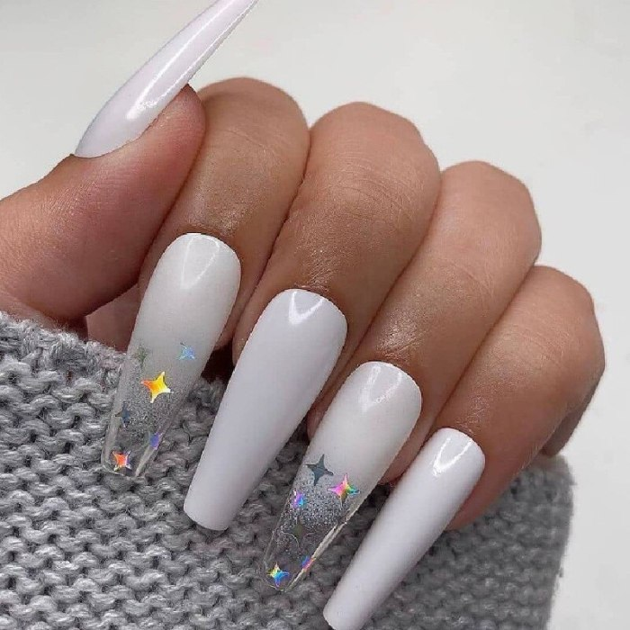 24Pcs Long Coffin Press On Nails Cloud Gradient Colors False Nails Cute Full Cover Nails Acrylic Nails Tips For Women And Girls