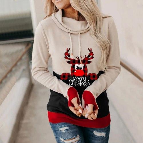 Hoodie Women Jumper Plus Size Women Long Sleeve Christmas Elk Printed Sweatshirt O-Neck Drawstring Top Tee Slim Holiday Clothing