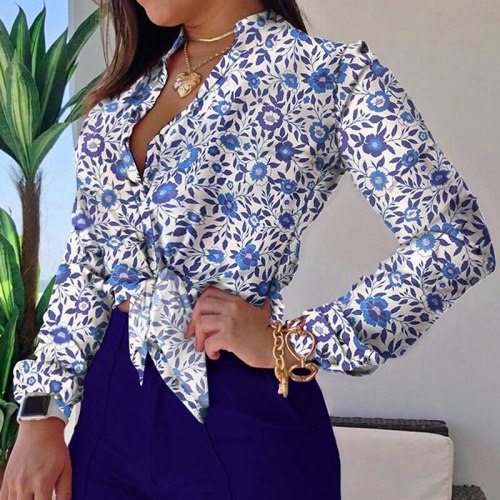 Chain print Blouse Tops and short pants 2pcs set Women Floral print Shirts+solid pants sets Office Lady Summer Lace up Bow blusa