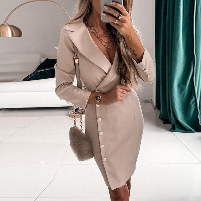 Autumn Khaki office high waist ladies dress Chic elegant aline women dress long sleeve Casual female dress 2021